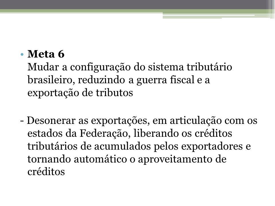 Meta 6 Mudar a configuração do sistema tributário brasileiro, reduzindo a guerra fiscal e a exportação de tributos - Desonerar as exportações, em arti