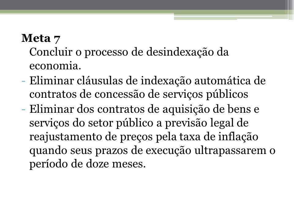 Meta 7 Concluir o processo de desindexação da economia. -Eliminar cláusulas de indexação automática de contratos de concessão de serviços públicos -El