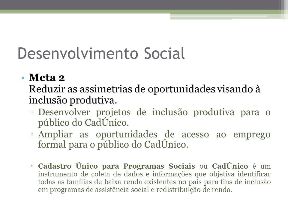 Desenvolvimento Social Meta 2 Reduzir as assimetrias de oportunidades visando à inclusão produtiva. Desenvolver projetos de inclusão produtiva para o