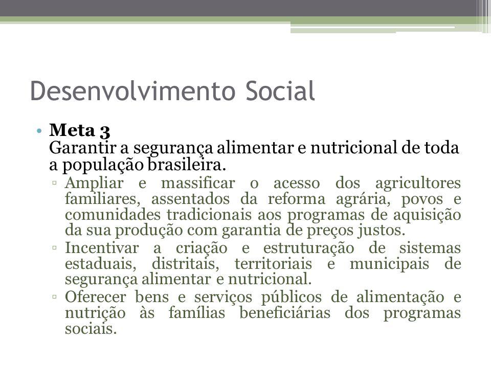 Desenvolvimento Social Meta 3 Garantir a segurança alimentar e nutricional de toda a população brasileira. Ampliar e massificar o acesso dos agriculto