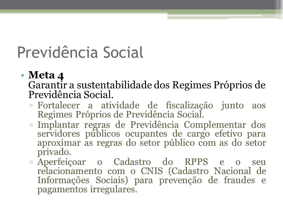 Previdência Social Meta 4 Garantir a sustentabilidade dos Regimes Próprios de Previdência Social. Fortalecer a atividade de fiscalização junto aos Reg