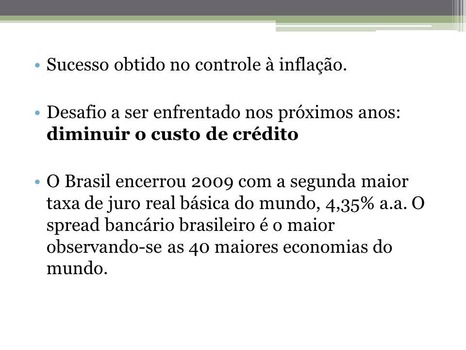 Sucesso obtido no controle à inflação. Desafio a ser enfrentado nos próximos anos: diminuir o custo de crédito O Brasil encerrou 2009 com a segunda ma