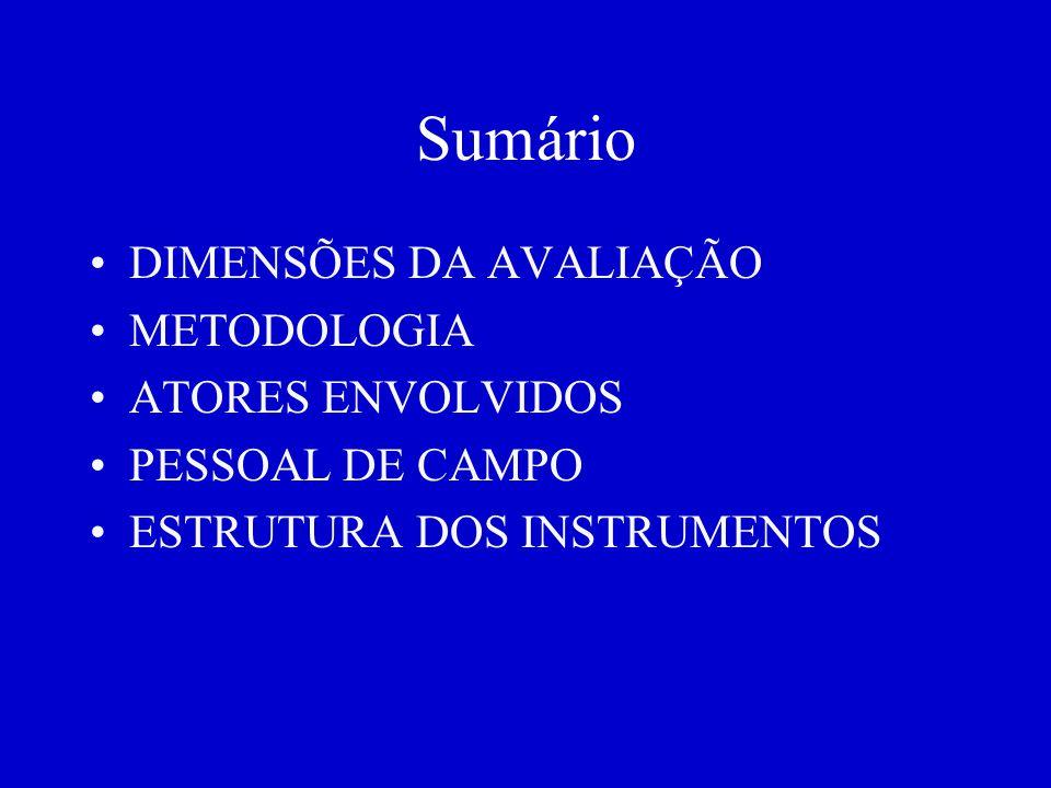 Sumário DIMENSÕES DA AVALIAÇÃO METODOLOGIA ATORES ENVOLVIDOS PESSOAL DE CAMPO ESTRUTURA DOS INSTRUMENTOS