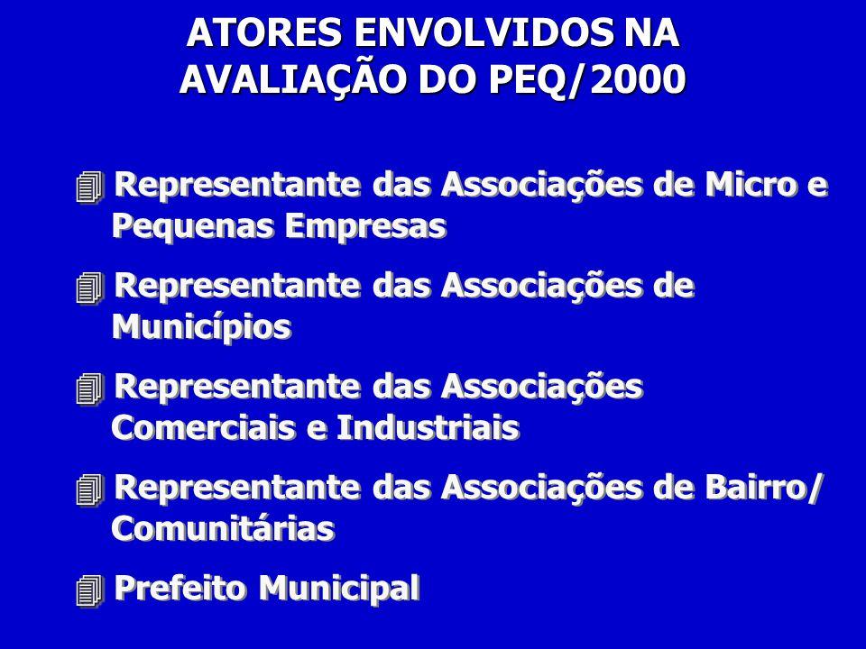 Representante das Associações de Micro e Pequenas Empresas Representante das Associações de Municípios Representante das Associações Comerciais e Industriais Representante das Associações de Bairro/ Comunitárias Prefeito Municipal Representante das Associações de Micro e Pequenas Empresas Representante das Associações de Municípios Representante das Associações Comerciais e Industriais Representante das Associações de Bairro/ Comunitárias Prefeito Municipal ATORES ENVOLVIDOS NA AVALIAÇÃO DO PEQ/2000