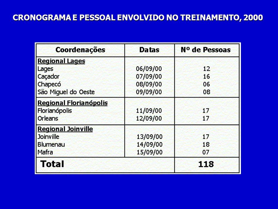 CRONOGRAMA E PESSOAL ENVOLVIDO NO TREINAMENTO, 2000