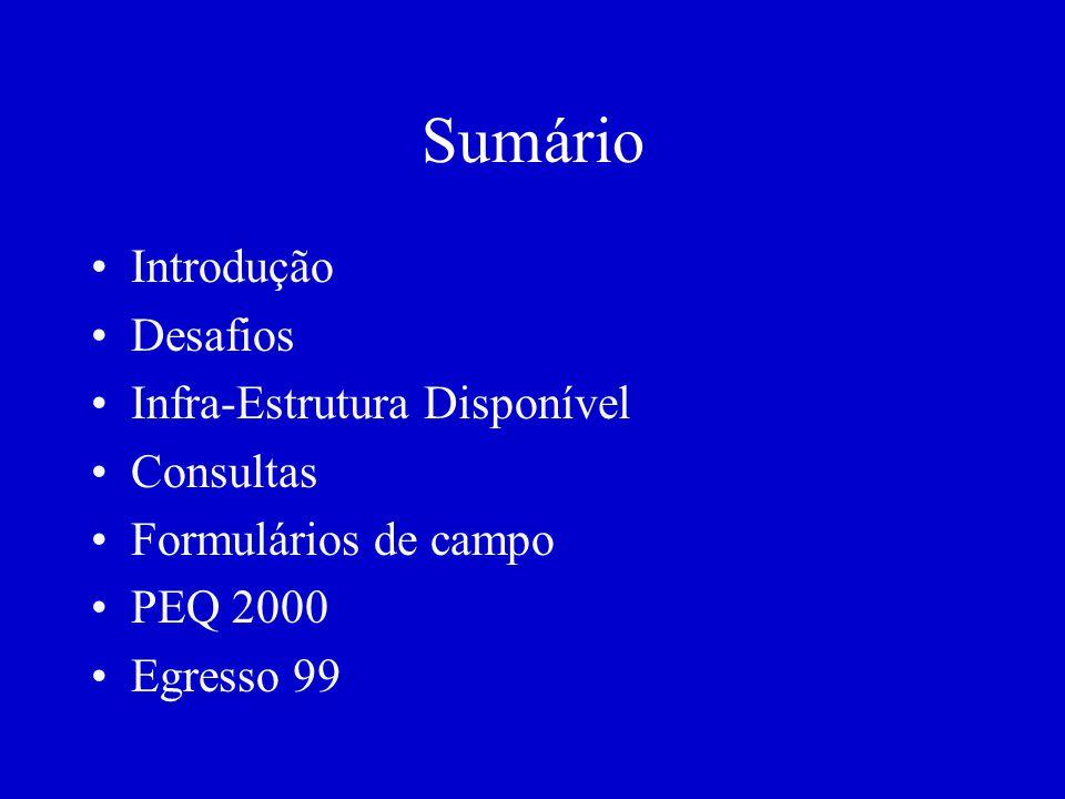 Sumário Introdução Desafios Infra-Estrutura Disponível Consultas Formulários de campo PEQ 2000 Egresso 99