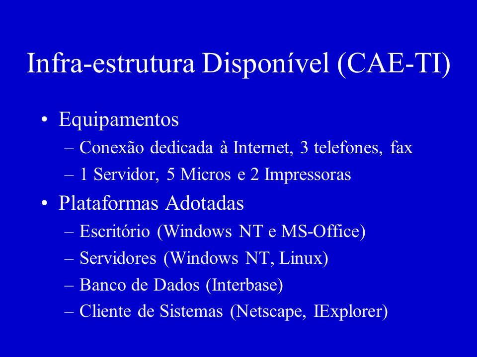 Infra-estrutura Disponível (CAE-TI) Equipamentos –Conexão dedicada à Internet, 3 telefones, fax –1 Servidor, 5 Micros e 2 Impressoras Plataformas Adotadas –Escritório (Windows NT e MS-Office) –Servidores (Windows NT, Linux) –Banco de Dados (Interbase) –Cliente de Sistemas (Netscape, IExplorer)