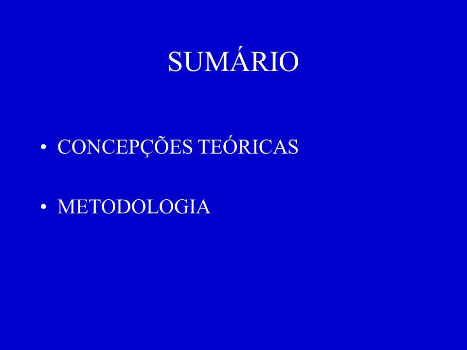 SUMÁRIO CONCEPÇÕES TEÓRICAS METODOLOGIA