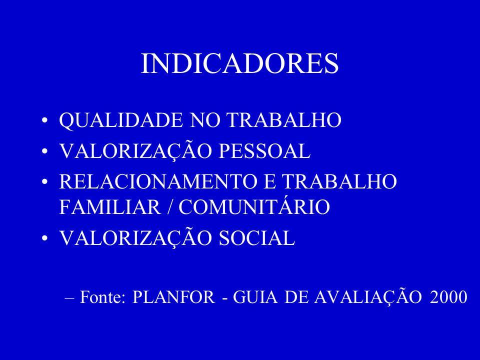 INDICADORES QUALIDADE NO TRABALHO VALORIZAÇÃO PESSOAL RELACIONAMENTO E TRABALHO FAMILIAR / COMUNITÁRIO VALORIZAÇÃO SOCIAL –Fonte: PLANFOR - GUIA DE AVALIAÇÃO 2000