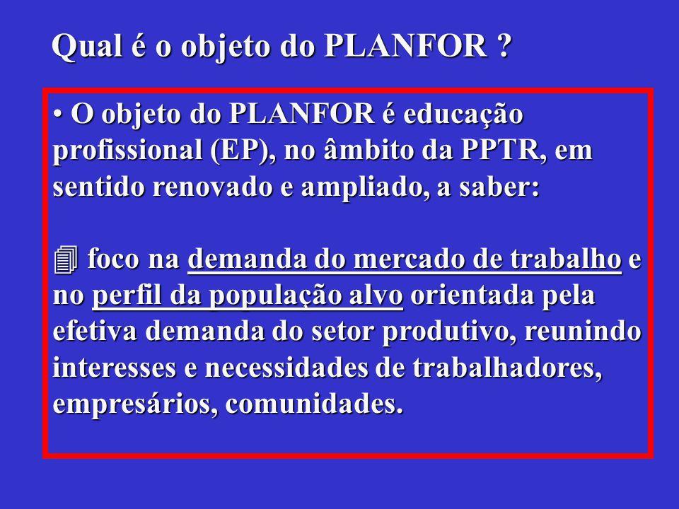 Qual é o objeto do PLANFOR .