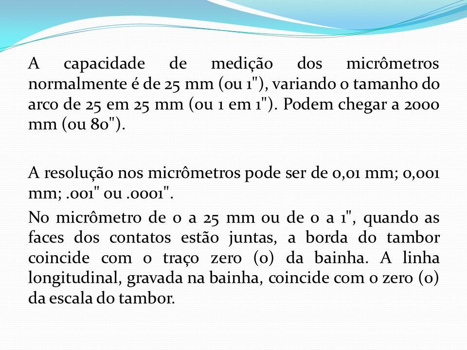 A capacidade de medição dos micrômetros normalmente é de 25 mm (ou 1