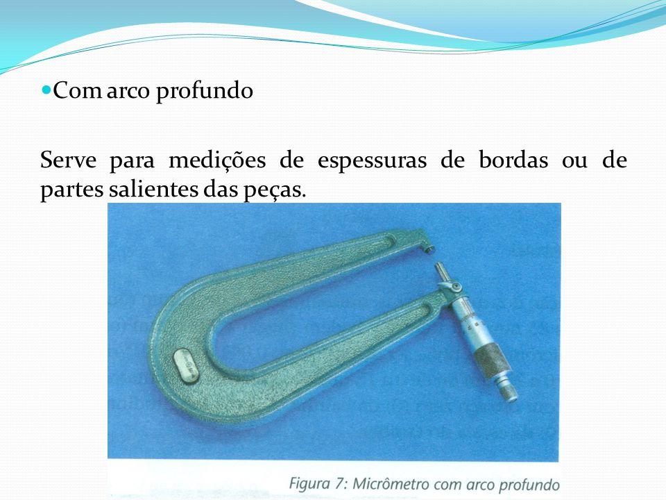 Com arco profundo Serve para medições de espessuras de bordas ou de partes salientes das peças.
