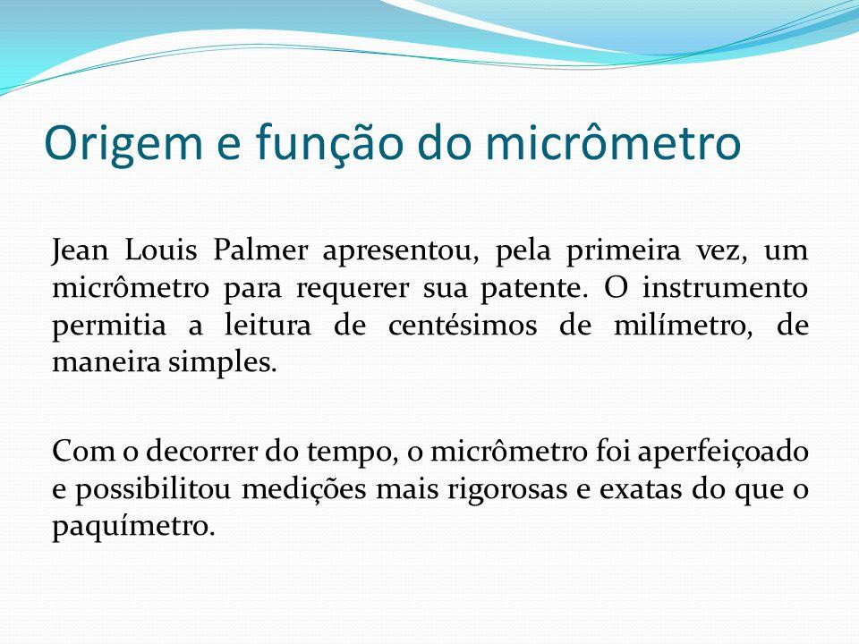 Origem e função do micrômetro Jean Louis Palmer apresentou, pela primeira vez, um micrômetro para requerer sua patente. O instrumento permitia a leitu