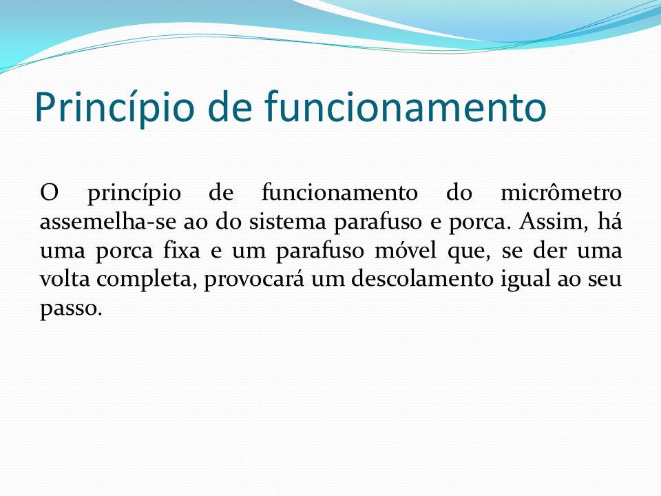 Princípio de funcionamento O princípio de funcionamento do micrômetro assemelha-se ao do sistema parafuso e porca. Assim, há uma porca fixa e um paraf