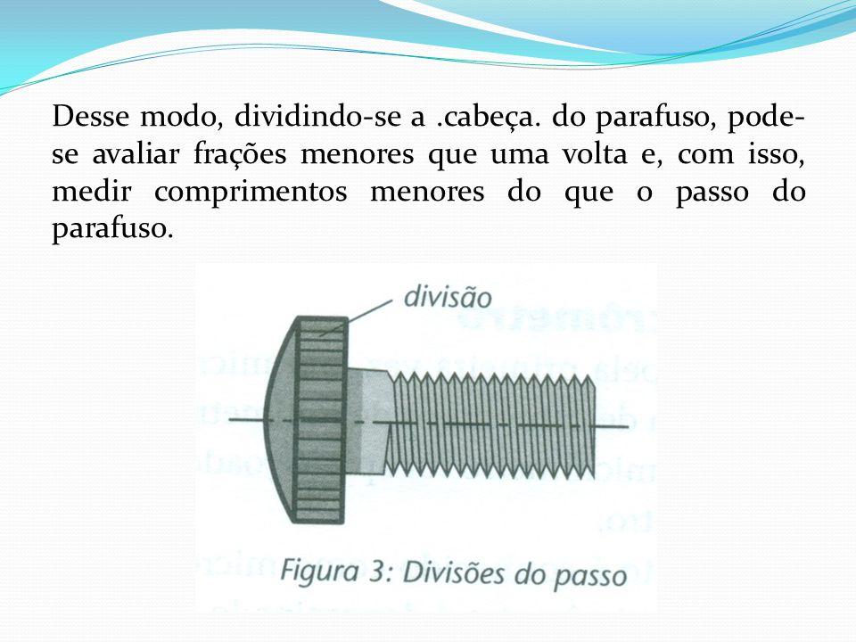 Desse modo, dividindo-se a.cabeça. do parafuso, pode- se avaliar frações menores que uma volta e, com isso, medir comprimentos menores do que o passo
