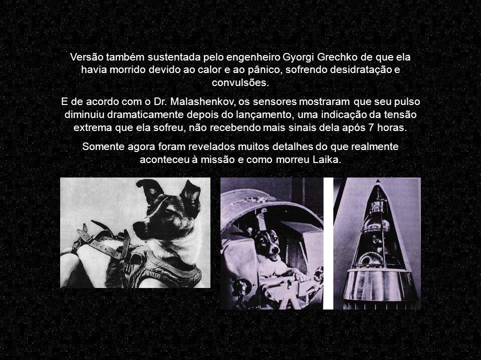 O cientista Dimitri Malashenkov, que participou do programa Sputnik 2, revelou recentemente que Laika havia morrido entre cinco e sete horas após a decolagem, de estresse e devido ao superaquecimento por falha no sistema de controle térmico da nave.