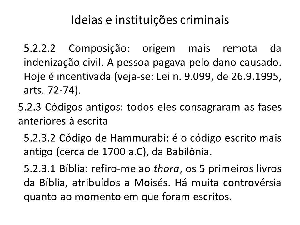 Ideias e instituições criminais 5.2.2.2 Composição: origem mais remota da indenização civil. A pessoa pagava pelo dano causado. Hoje é incentivada (ve
