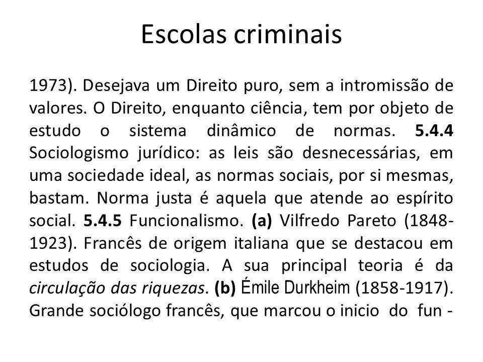 Escolas criminais 1973). Desejava um Direito puro, sem a intromissão de valores. O Direito, enquanto ciência, tem por objeto de estudo o sistema dinâm
