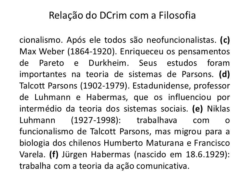 Relação do DCrim com a Filosofia cionalismo. Após ele todos são neofuncionalistas. (c) Max Weber (1864-1920). Enriqueceu os pensamentos de Pareto e Du
