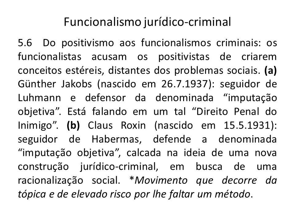 Funcionalismo jurídico-criminal 5.6 Do positivismo aos funcionalismos criminais: os funcionalistas acusam os positivistas de criarem conceitos estéreis, distantes dos problemas sociais.