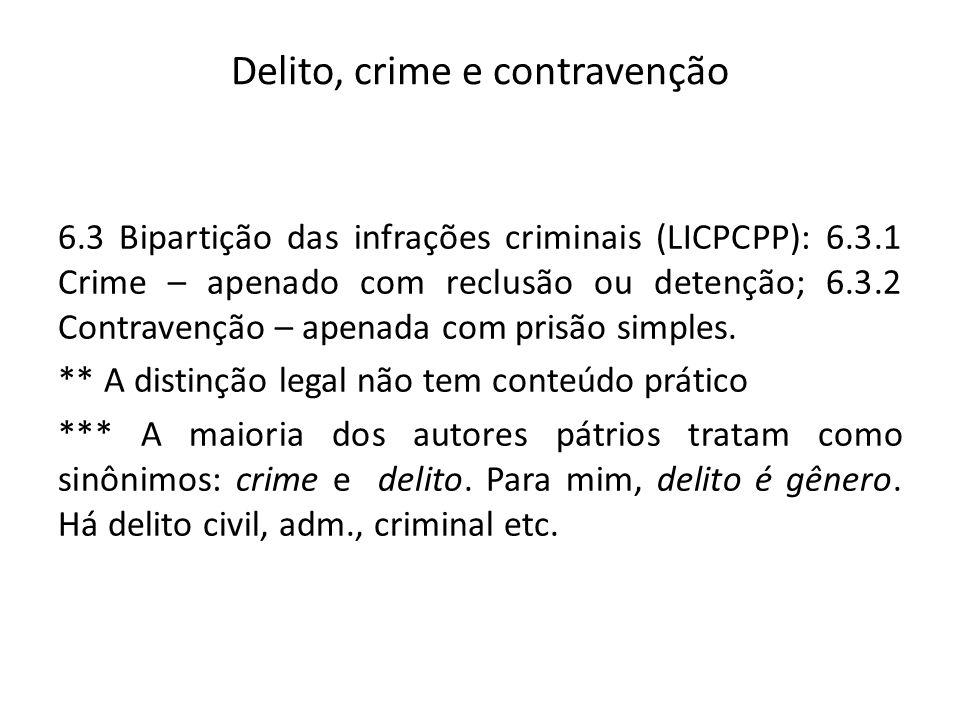 Delito, crime e contravenção 6.3 Bipartição das infrações criminais (LICPCPP): 6.3.1 Crime – apenado com reclusão ou detenção; 6.3.2 Contravenção – ap
