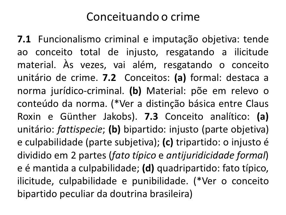 Conceituando o crime 7.1 Funcionalismo criminal e imputação objetiva: tende ao conceito total de injusto, resgatando a ilicitude material.