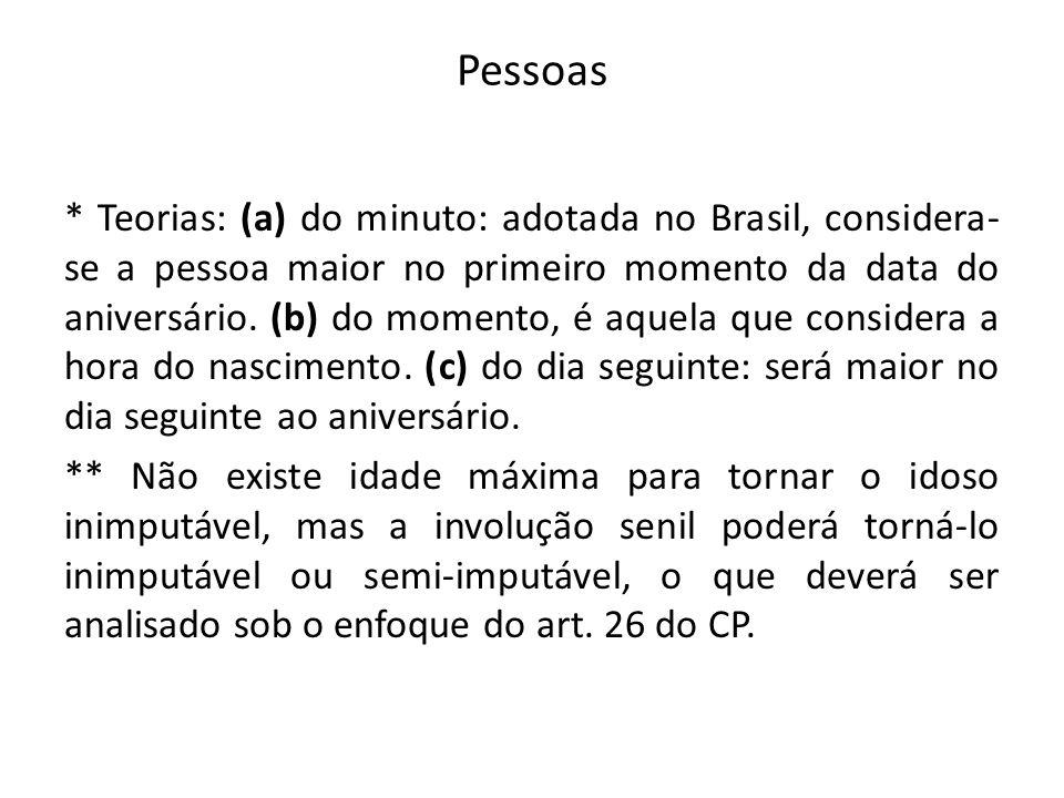 Pessoas * Teorias: (a) do minuto: adotada no Brasil, considera- se a pessoa maior no primeiro momento da data do aniversário. (b) do momento, é aquela
