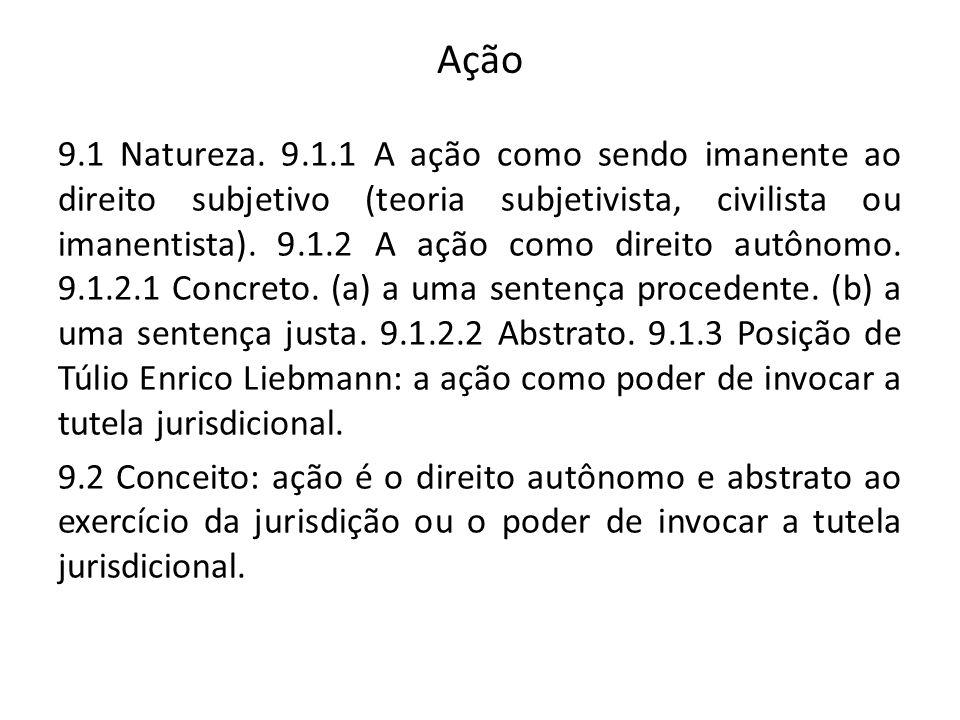Ação 9.1 Natureza. 9.1.1 A ação como sendo imanente ao direito subjetivo (teoria subjetivista, civilista ou imanentista). 9.1.2 A ação como direito au