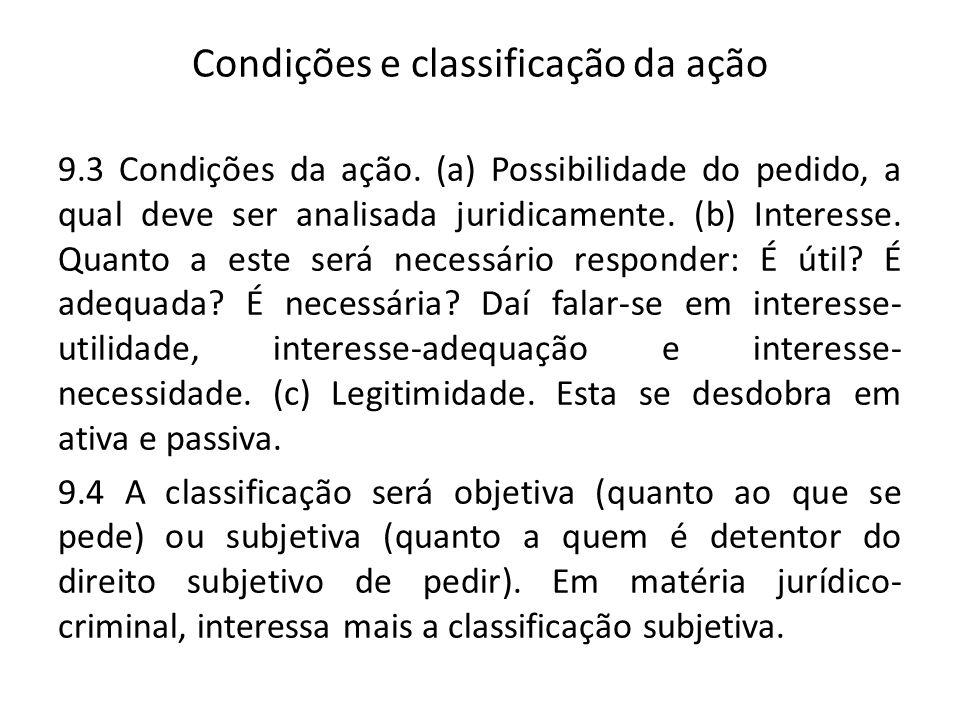 Condições e classificação da ação 9.3 Condições da ação. (a) Possibilidade do pedido, a qual deve ser analisada juridicamente. (b) Interesse. Quanto a