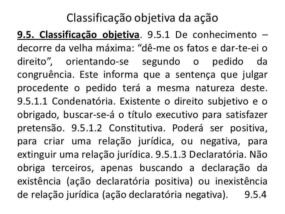 Classificação objetiva da ação 9.5. Classificação objetiva. 9.5.1 De conhecimento – decorre da velha máxima: dê-me os fatos e dar-te-ei o direito, ori