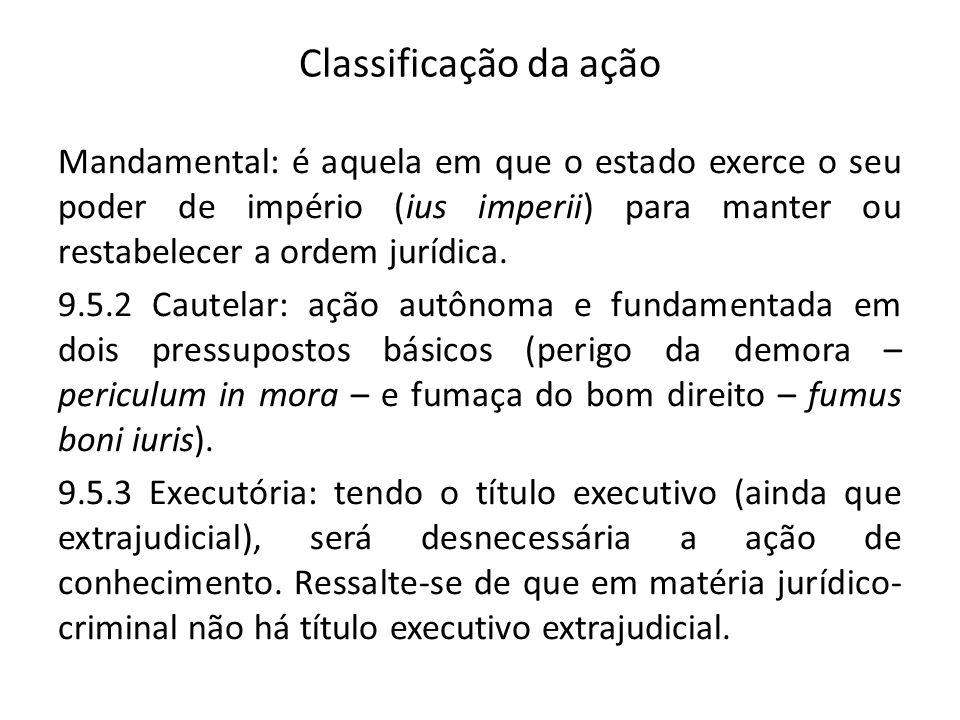 Classificação da ação Mandamental: é aquela em que o estado exerce o seu poder de império (ius imperii) para manter ou restabelecer a ordem jurídica.