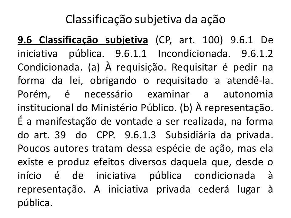 Classificação subjetiva da ação 9.6 Classificação subjetiva (CP, art. 100) 9.6.1 De iniciativa pública. 9.6.1.1 Incondicionada. 9.6.1.2 Condicionada.