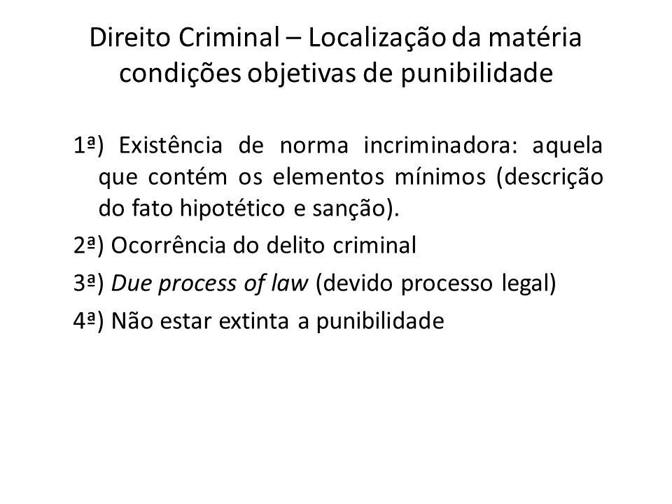 Direito Criminal – Localização da matéria condições objetivas de punibilidade 1ª) Existência de norma incriminadora: aquela que contém os elementos mínimos (descrição do fato hipotético e sanção).