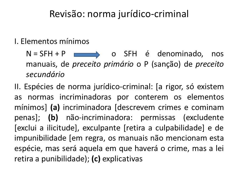 Revisão: norma jurídico-criminal I. Elementos mínimos N = SFH + P o SFH é denominado, nos manuais, de preceito primário o P (sanção) de preceito secun