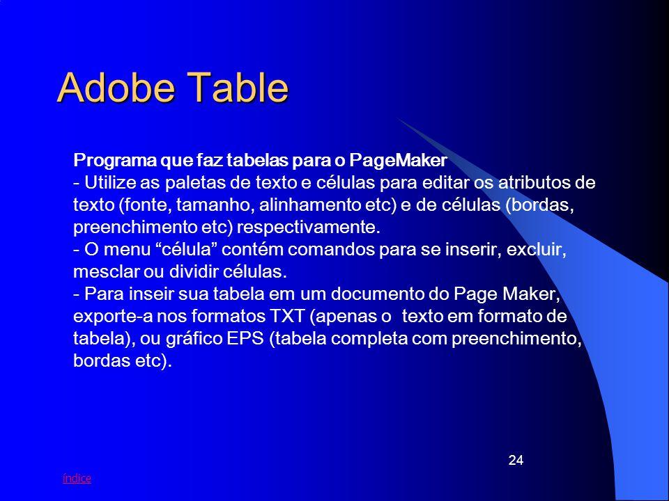 índice 24 Adobe Table Programa que faz tabelas para o PageMaker - Utilize as paletas de texto e células para editar os atributos de texto (fonte, tama