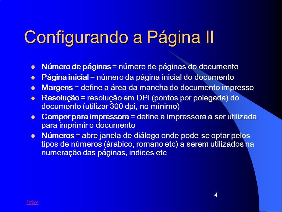 índice 4 Configurando a Página II Número de páginas = número de páginas do documento Página inicial = número da página inicial do documento Margens =