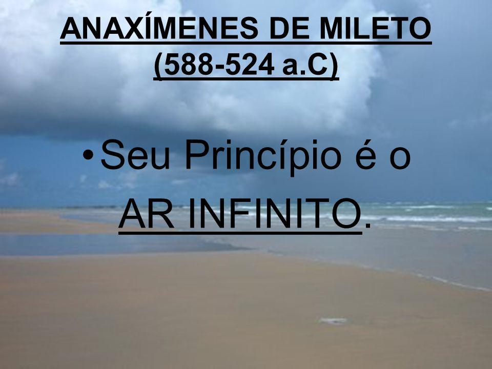ANAXÍMENES DE MILETO (588-524 a.C) Seu Princípio é o AR INFINITO.