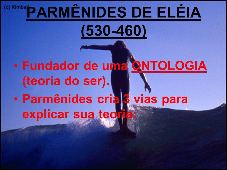 PARMÊNIDES DE ELÉIA (530-460) Fundador de uma ONTOLOGIA (teoria do ser). Parmênides cria 3 vias para explicar sua teoria: