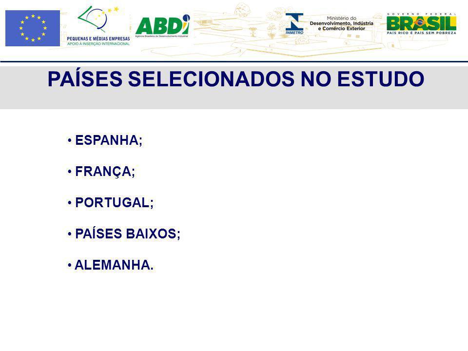 PAÍSES SELECIONADOS NO ESTUDO ESPANHA; FRANÇA; PORTUGAL; PAÍSES BAIXOS; ALEMANHA.