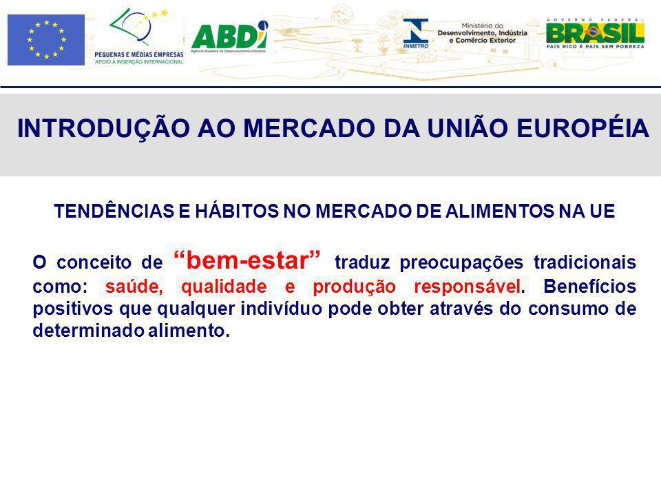 INTRODUÇÃO AO MERCADO DA UNIÃO EUROPÉIA TENDÊNCIAS E HÁBITOS NO MERCADO DE ALIMENTOS NA UE O conceito de bem-estar traduz preocupações tradicionais co