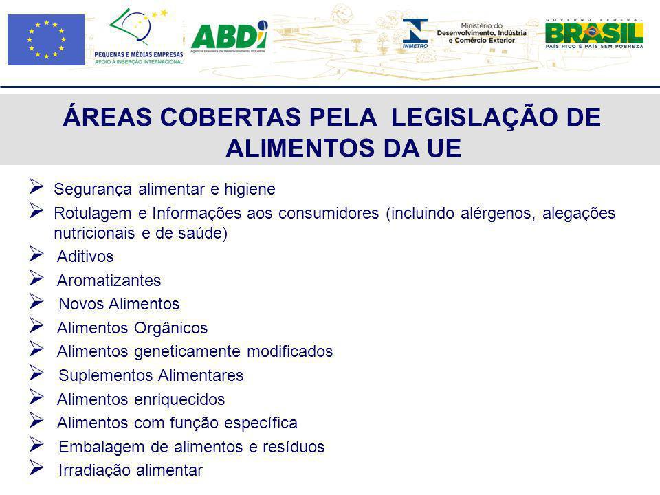 ÁREAS COBERTAS PELA LEGISLAÇÃO DE ALIMENTOS DA UE Segurança alimentar e higiene Rotulagem e Informações aos consumidores (incluindo alérgenos, alegaçõ