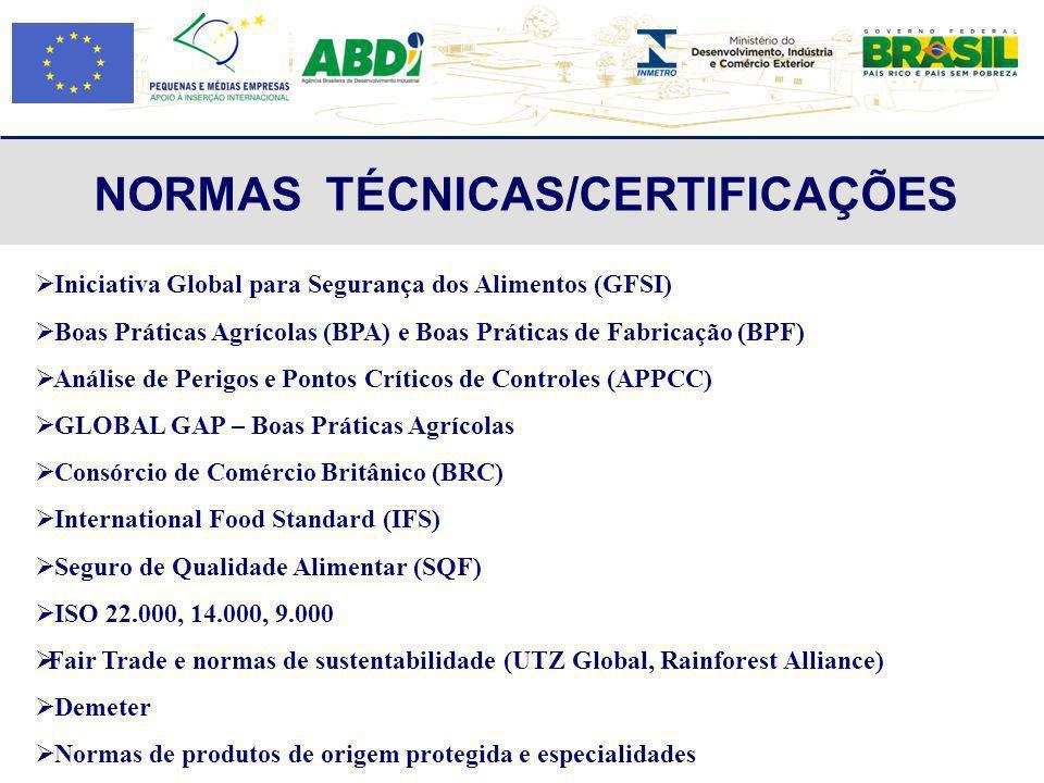 NORMAS TÉCNICAS/CERTIFICAÇÕES Iniciativa Global para Segurança dos Alimentos (GFSI) Boas Práticas Agrícolas (BPA) e Boas Práticas de Fabricação (BPF)