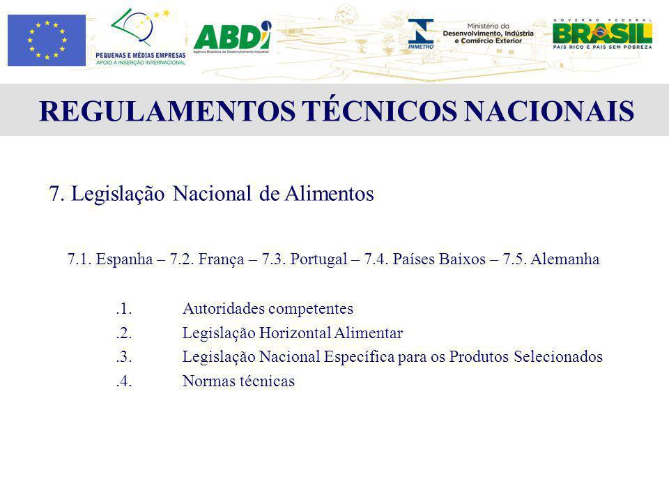REGULAMENTOS TÉCNICOS NACIONAIS 7. Legislação Nacional de Alimentos 7.1. Espanha – 7.2. França – 7.3. Portugal – 7.4. Países Baixos – 7.5. Alemanha.1.