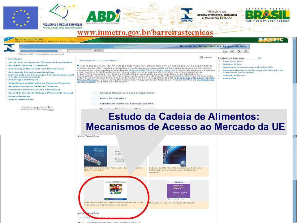 www.inmetro.gov.br/barreirastecnicas Estudo da Cadeia de Alimentos: Mecanismos de Acesso ao Mercado da UE