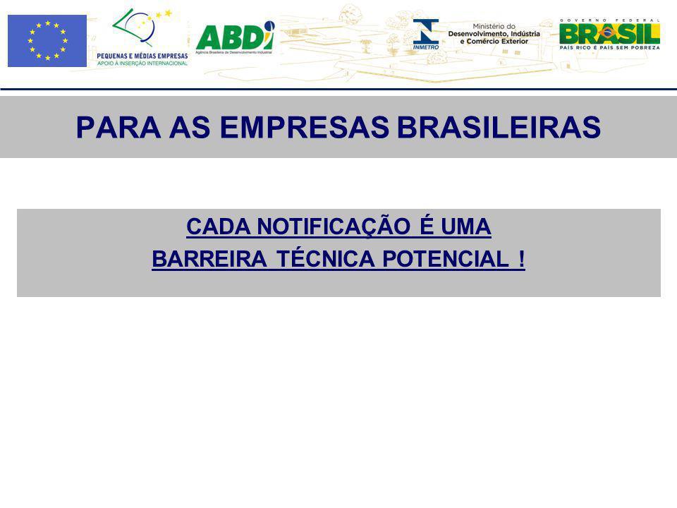 PARA AS EMPRESAS BRASILEIRAS CADA NOTIFICAÇÃO É UMA BARREIRA TÉCNICA POTENCIAL !