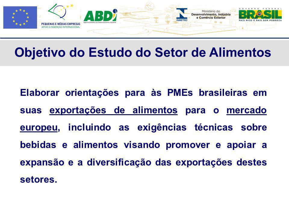 Elaborar orientações para às PMEs brasileiras em suas exportações de alimentos para o mercado europeu, incluindo as exigências técnicas sobre bebidas