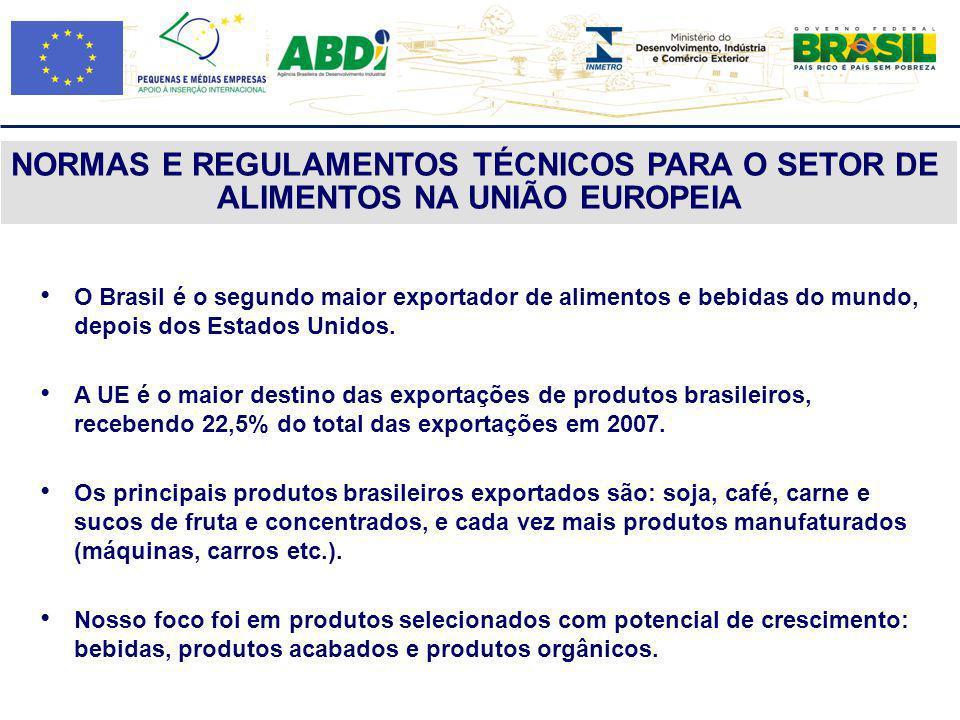 O Brasil é o segundo maior exportador de alimentos e bebidas do mundo, depois dos Estados Unidos. A UE é o maior destino das exportações de produtos b