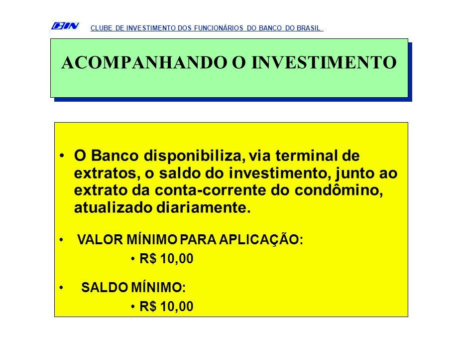 O Banco disponibiliza, via terminal de extratos, o saldo do investimento, junto ao extrato da conta-corrente do condômino, atualizado diariamente. VAL
