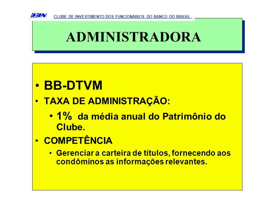 BB-DTVM TAXA DE ADMINISTRAÇÃO: 1% da média anual do Patrimônio do Clube. COMPETÊNCIA Gerenciar a carteira de títulos, fornecendo aos condôminos as inf