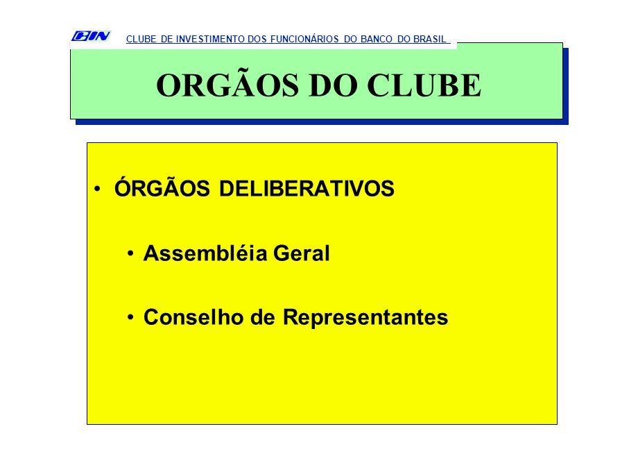 ÓRGÃOS DELIBERATIVOS Assembléia Geral Conselho de Representantes CLUBE DE INVESTIMENTO DOS FUNCIONÁRIOS DO BANCO DO BRASIL ORGÃOS DO CLUBE